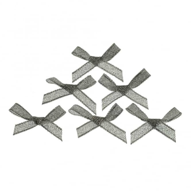 7mm Mini Lurex Ribbon Bows - Silver - 10pk