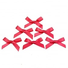7mm Mini Satin Ribbon Bows - Cerise - 10pk