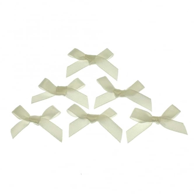 7mm Mini Satin Ribbon Bows - Ivory - 10pk