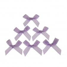 7mm Mini Satin Ribbon Bows - Lilac - 10pk