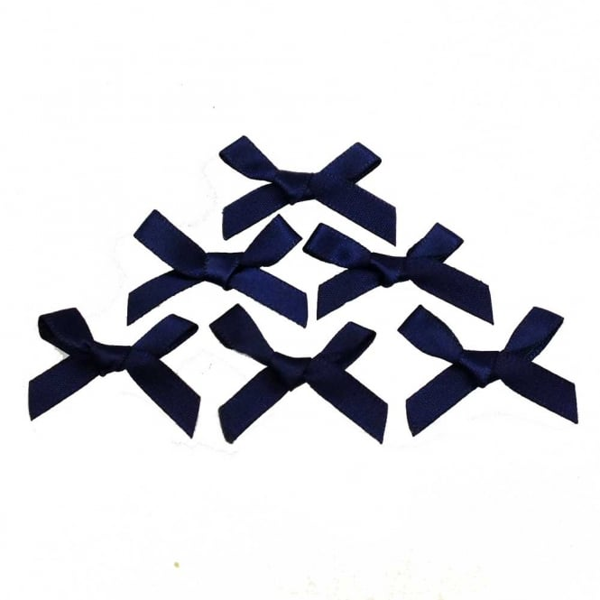 7mm Mini Satin Ribbon Bows - Navy - 10pk