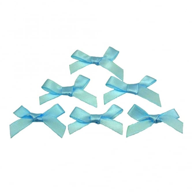 7mm Mini Satin Ribbon Bows - Pale Blue - 10pk