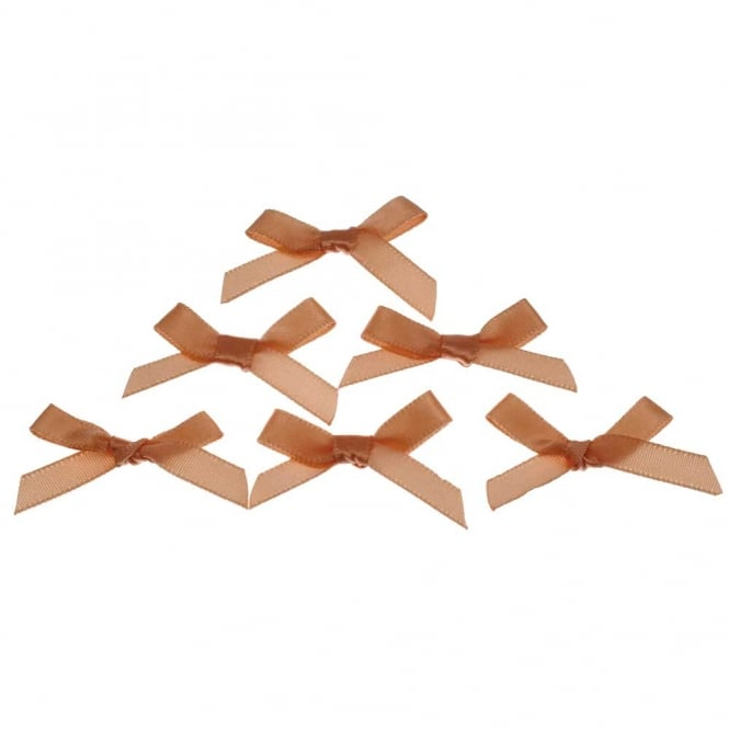 7mm Mini Satin Ribbon Bows - Pale Peach - 10pk