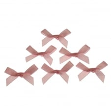 7mm Mini Satin Ribbon Bows - Pale Pink - 10pk