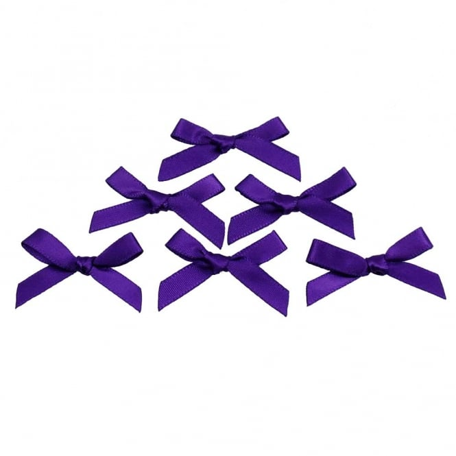 7mm Mini Satin Ribbon Bows - Purple - 10pk