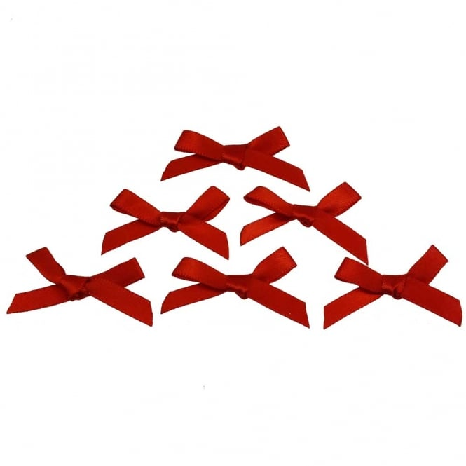 7mm Mini Satin Ribbon Bows - Red - 10pk