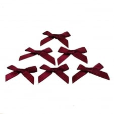 7mm Mini Satin Ribbon Bows - Wine - 10pk