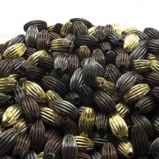 7x12mm Tube Shaped Fluted Beads - Mix Colours - 40pk