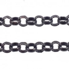 7x7mm Steel Extra Large Belcher Chain - Black Plated - 1m