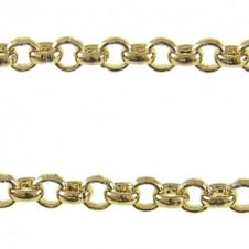 7x7mm Steel Extra Large Belcher Chain - Gold Plated - 1m