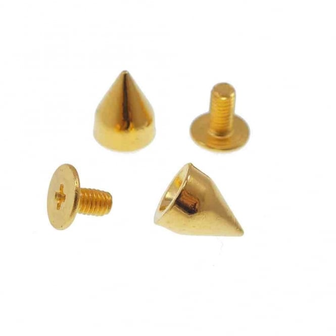8.5mm Metal Cone Screw Studs - Gold - 10pk