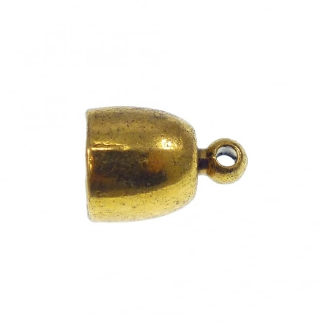 8mm Cord End Cap/Bell Closer - Antique Gold Plated - 4pk