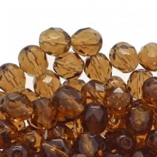 8mm Czech Faceted Round Glass Bead - Light Colorado Topaz - 20pk