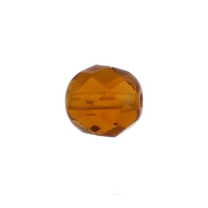 8mm Czech Faceted Round Glass Bead - Topaz - 20pk