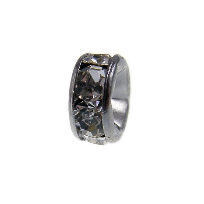 8mm Diamante Rondelles - Black Plated - Crystal - 100pk