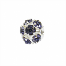8mm Diamante Round Beads - Violet - 10pk