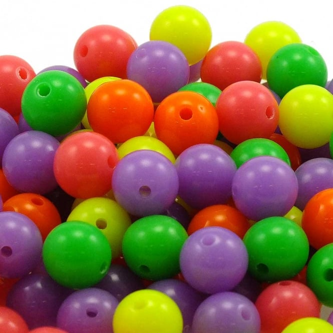 8mm Round Acrylic Beads - Bright Mix - 100pk