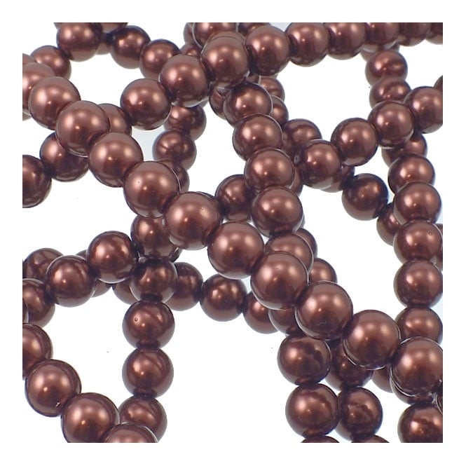 8mm Round Glass Pearl Beads - Dark Brown - 2 Strings (54 Beads)