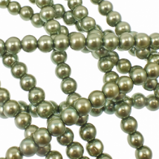 8mm Round Glass Pearl Beads - Khaki - 2 Strings (54 Beads)