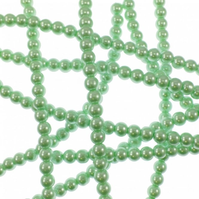 8mm Round Glass Pearl Beads - Light Mint - 2 Strings (54 Beads)
