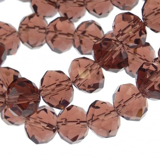 8x10mm Faceted Glass Rondelles - Amethyst - 50pk