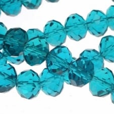 8x10mm Faceted Glass Rondelles - Blue Zircon - 50pk
