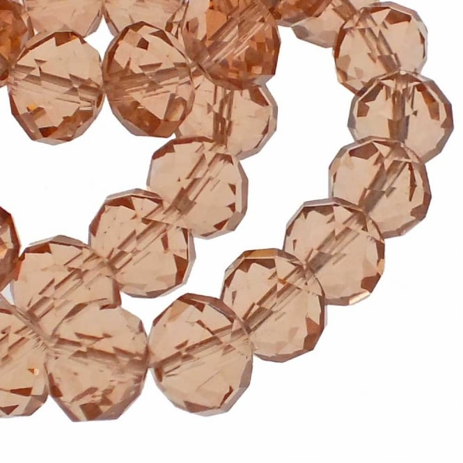 8x10mm Faceted Glass Rondelles - Camel - 50pk