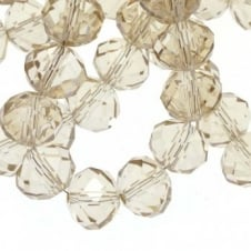 8x10mm Faceted Glass Rondelles - Champagne - 50pk