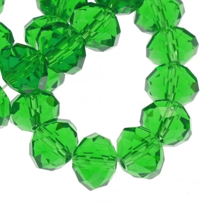 8x10mm Faceted Glass Rondelles - Green - 50pk