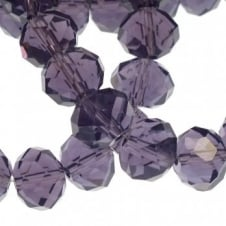 8x10mm Faceted Glass Rondelles - Indigo - 50pk