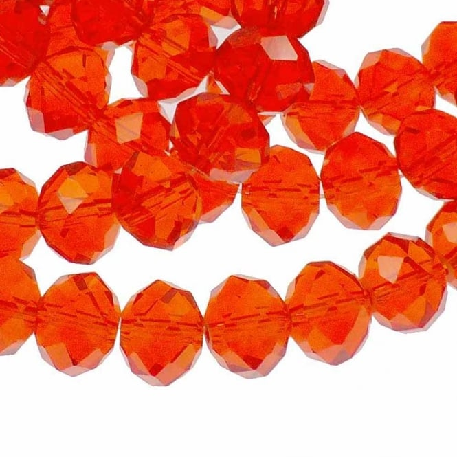 8x10mm Faceted Glass Rondelles - Light Siam - 50pk