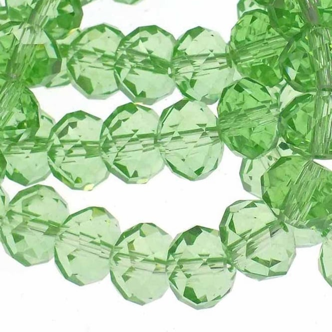 8x10mm Faceted Glass Rondelles - Pale Green - 50pk