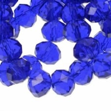 8x10mm Faceted Glass Rondelles - Royal Blue - 50pk