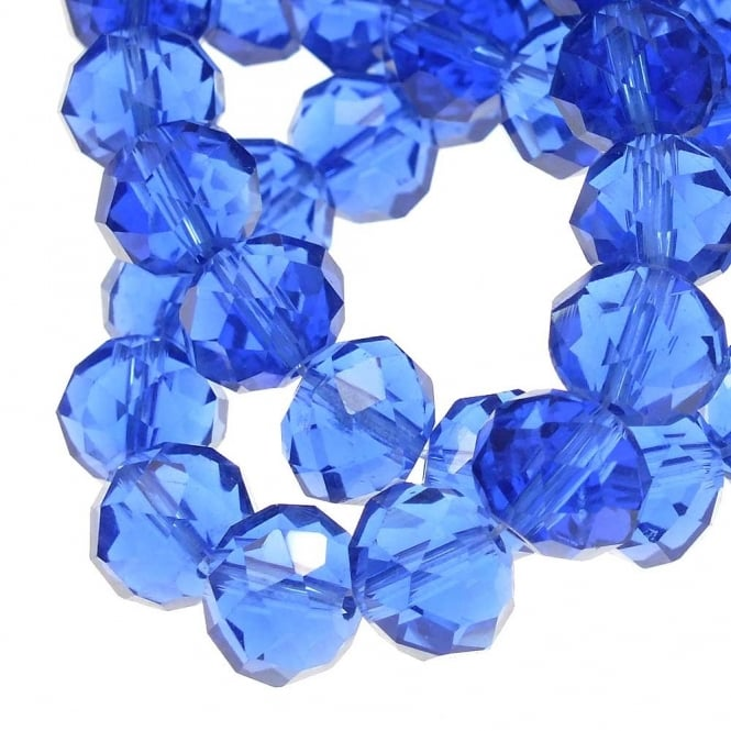 8x10mm Faceted Glass Rondelles - Sapphire - 50pk