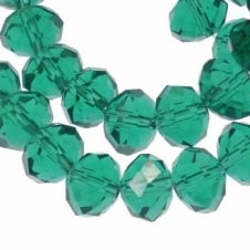 8x10mm Faceted Glass Rondelles - Sea Green - 50pk