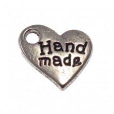 9mm 'Hand Made' Heart Charm - Antique Silver Plated - 10pk