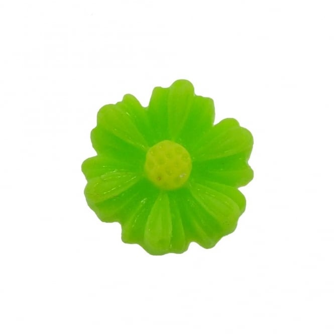 9mm Sunflower Resin Cabochon - Bright Green - 10pk