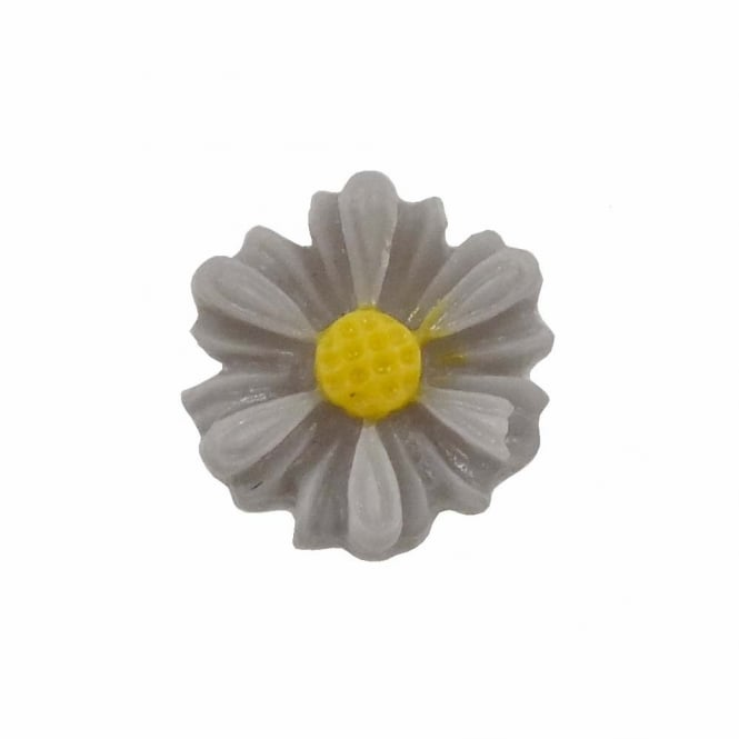 9mm Sunflower Resin Cabochon - Grey - 10pk