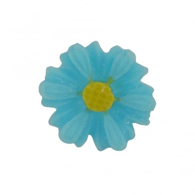 9mm Sunflower Resin Cabochon - Turquoise - 10pk