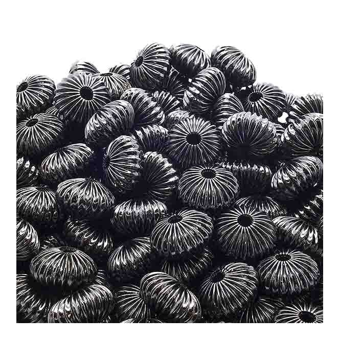 9x14mm Rondelle Shaped Fluted Beads - Black Plated - 10pk