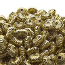 9x14mm Rondelle Shaped Fluted Beads - Gold Plated - 10pk