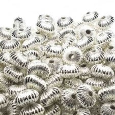 9x14mm Rondelle Shaped Fluted Beads - Silver Plated - 10pk
