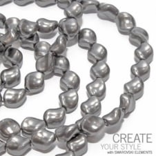 9x8mm Swarovski Curved Pearl Beads - Crystal Dark Grey
