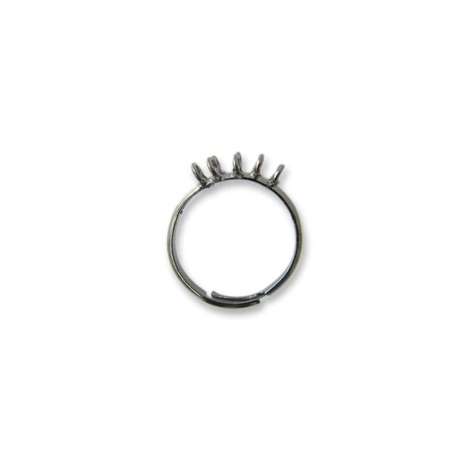 Adjustable Bling Ring With 10 Loops - Black Plated
