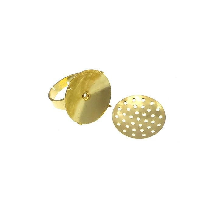 Adjustable Ring With 16mm Seive Disc - Gold Plated - 2pk