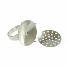 Adjustable Ring With 16mm Sieve Disc - Silver Plated - 2pk
