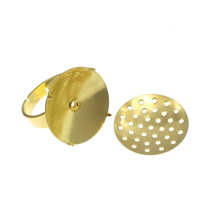 Adjustable Ring With 20mm Sieve Disc - Gold Plated - 2pk