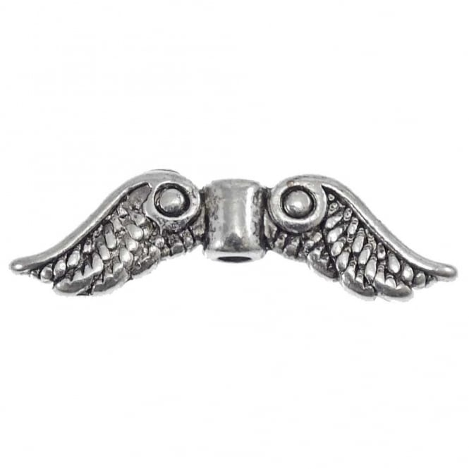 Angel Wing Bead Spacer 22x7mm - Antique Silver Plated - 10pk