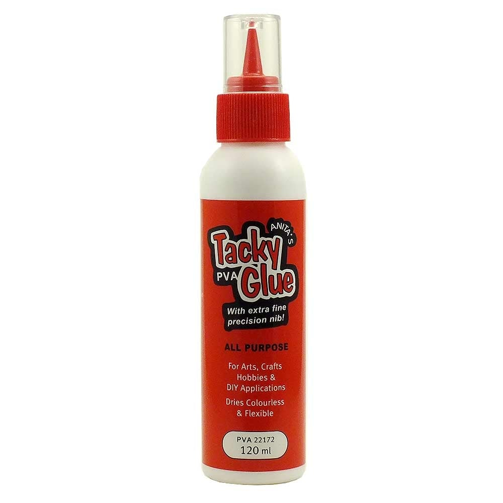 Anita 39 s tacky pva glue dries clear and flexible 120ml for Craft glue that dries clear