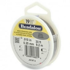 Beadalon Beading Wire 19 Strand 0.25mm (.010in) - Bright - 9.2m (30ft)